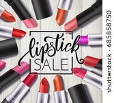 makeup colorful lipstick set ... | Shutterstock .eps vector #685858750