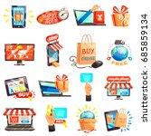 online shopping e commerce set... | Shutterstock .eps vector #685859134