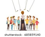 group teenage boys with... | Shutterstock .eps vector #685859140