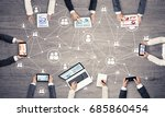 group of people with devices in ... | Shutterstock . vector #685860454