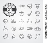 sport icon set outline vector... | Shutterstock .eps vector #685860523