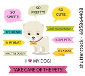 cute cartoon dog speech bubble... | Shutterstock .eps vector #685864408