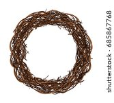 a beautiful wreath of twigs on... | Shutterstock .eps vector #685867768