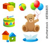 toys collection isolated on... | Shutterstock .eps vector #68586805