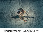 young hipster cyclist riding on ... | Shutterstock . vector #685868179