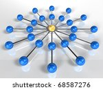 Business network or connection concept white background 3d rendering - stock photo