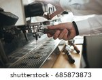 man hands working with coffee... | Shutterstock . vector #685873873