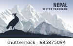 Vector Panorama Of Nepal With...
