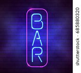 Glowing Blue Neon Bar Sign...