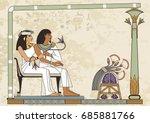 murals with ancient egypt scene.... | Shutterstock .eps vector #685881766