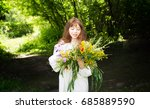 pretty young woman in... | Shutterstock . vector #685889590