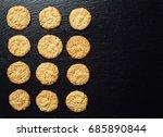 domestic stacked biscuit sweet...   Shutterstock . vector #685890844