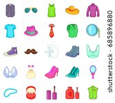 adornment icons set. cartoon... | Shutterstock .eps vector #685896880