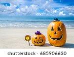 halloween pumpkin background on ... | Shutterstock . vector #685906630