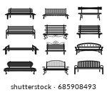park bench black set. comfy... | Shutterstock .eps vector #685908493