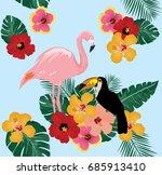 vector illustration of flamingo ... | Shutterstock .eps vector #685913410