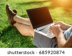 cropped shot of man using... | Shutterstock . vector #685920874