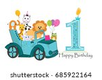 first birthday car with animals ... | Shutterstock .eps vector #685922164