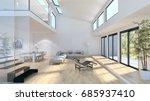 modern bright living room ... | Shutterstock . vector #685937410