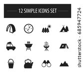 set of 12 editable camping...