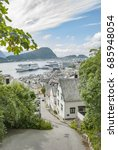 alesund city view from above | Shutterstock . vector #685948054