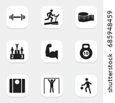set of 9 editable active icons. ...