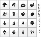 set of 16 editable berry icons. ...