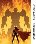 super heroine facing giant evil ... | Shutterstock .eps vector #685950010