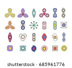 fidget spinners line icon set.... | Shutterstock . vector #685961776