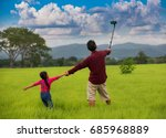 father and daughter selfie in...   Shutterstock . vector #685968889