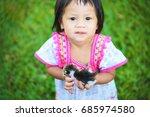 cute young caucasian girl... | Shutterstock . vector #685974580
