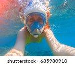 Snorkel Girl Underwater Selfie...