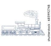 vintage steam locomotive vector ...   Shutterstock .eps vector #685992748