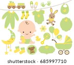 cute baby and baby items in... | Shutterstock .eps vector #685997710