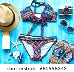 summer fashion woman swimsuit... | Shutterstock . vector #685998343