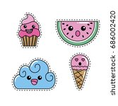 set kawaii cute tender design | Shutterstock .eps vector #686002420