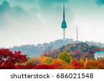 namsan seoul tower and autumn... | Shutterstock . vector #686021548