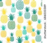 pineapple seamless pattern....   Shutterstock .eps vector #686033389