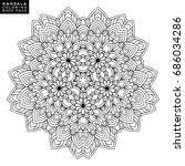 outline mandala for coloring... | Shutterstock .eps vector #686034286