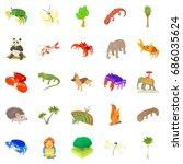 animal husbandry icons set.... | Shutterstock .eps vector #686035624