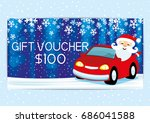gift voucher with santa claus. | Shutterstock .eps vector #686041588