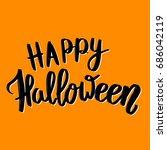 happy halloween. hand drawn... | Shutterstock . vector #686042119