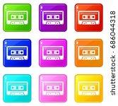 cassette tape icons of 9 color... | Shutterstock .eps vector #686044318