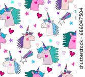 awesome seamless pattern with... | Shutterstock .eps vector #686047504