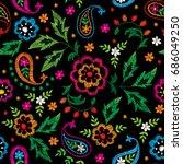 vector seamless decorative... | Shutterstock .eps vector #686049250