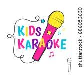 kids karaoke logo or emblem... | Shutterstock . vector #686053630