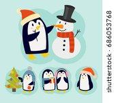 penguin christmas vector... | Shutterstock .eps vector #686053768
