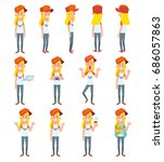 set of teenage girl in... | Shutterstock .eps vector #686057863