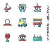 amusement park icons set. flat... | Shutterstock .eps vector #686059234