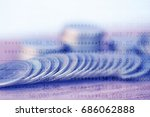double exposure rows of coins... | Shutterstock . vector #686062888